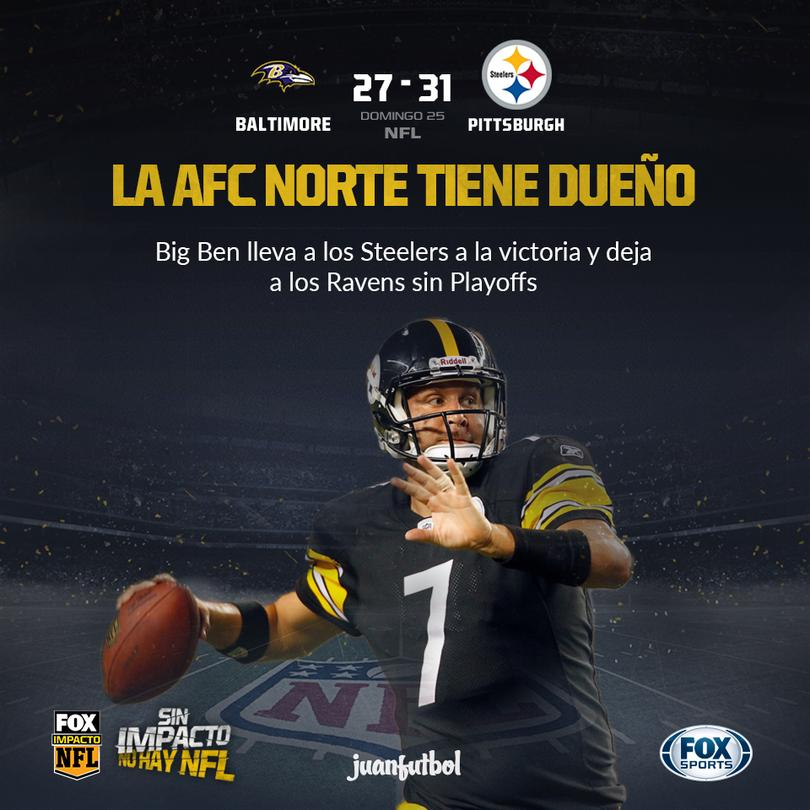 Steelers vence a Ravens y los dejan sin Playoffs