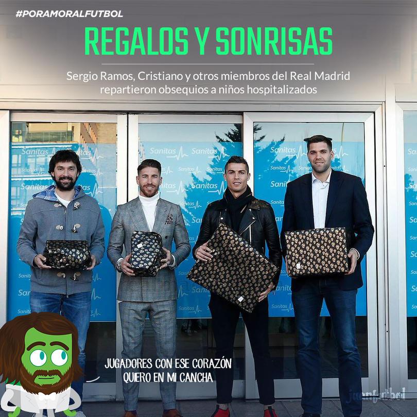 Sergio Ramos y Cristiano repartieron regalos a niños en hospitales