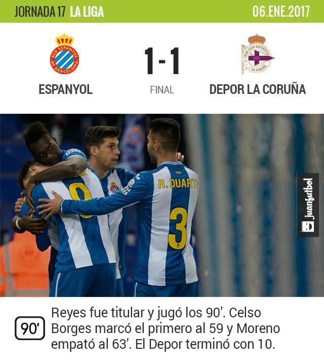 El Espanyol no pasa del empate con Reyes en la cancha