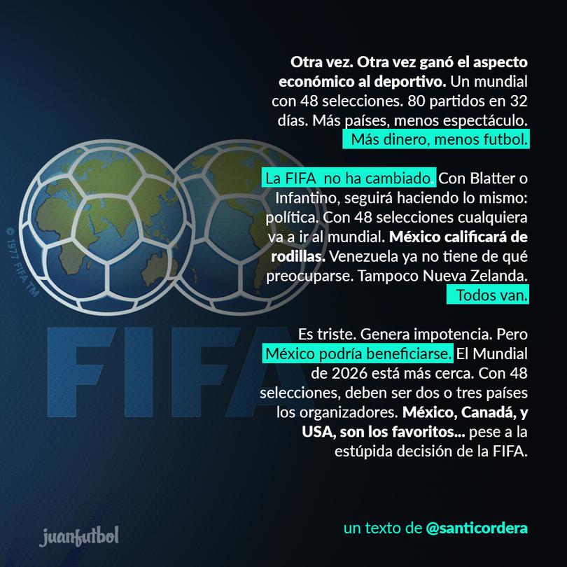 Santiago Cordera opina sobre la decisión de FIFA de aumentar a 48 selecciones la Copa del Mundo.