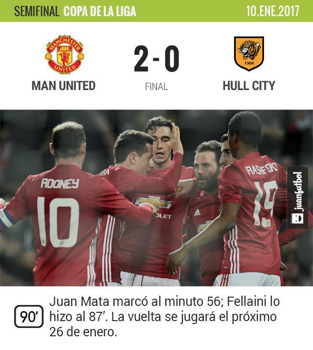El Manchester United sacó un complicado triunfo en la ida de las semifinales de la Copa de la Liga
