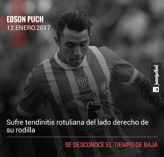 Edson Puch sufre tendinitis rotuliana del lado derecho de su rodilla.