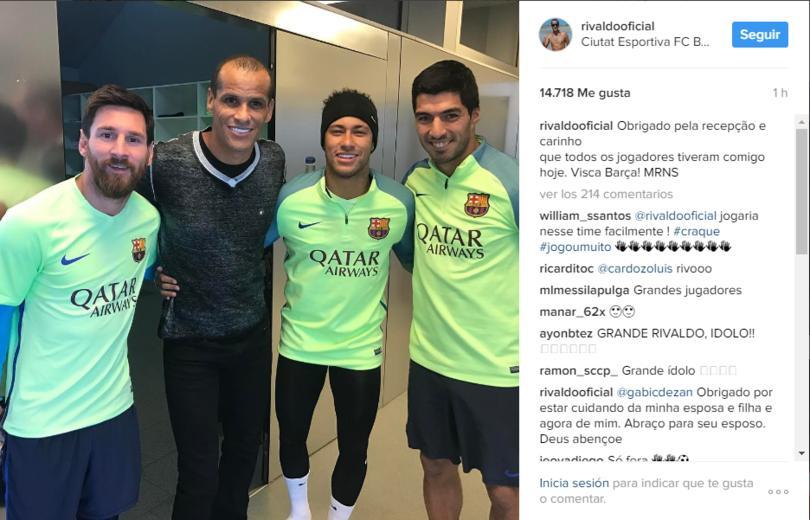 Rivaldo visitó al Barcelona