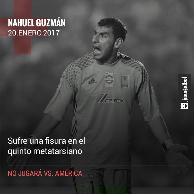 Nahuel Guzmán, quien fue la figura de Tigres en la pasada final, no jugará vs. América por una lesión