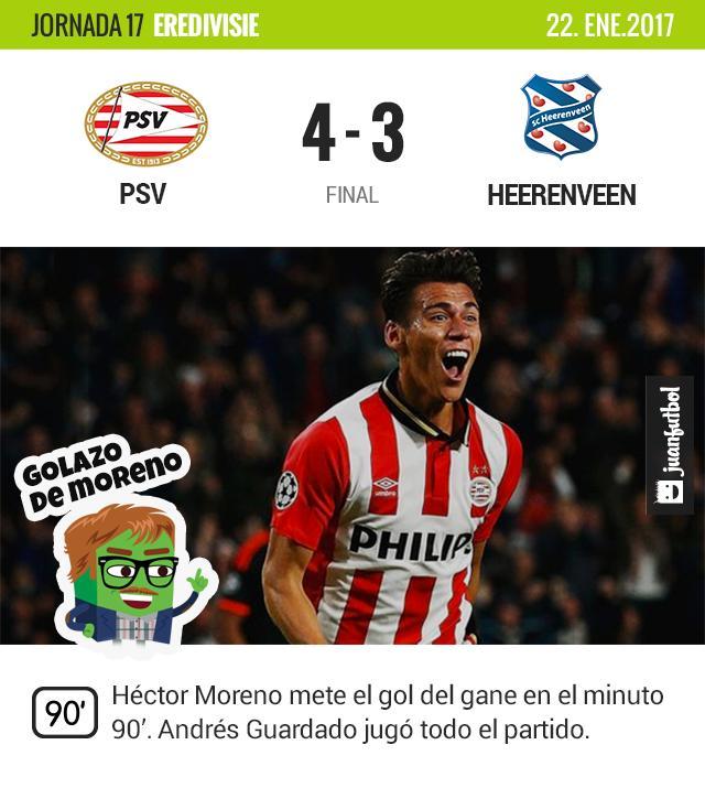 Héctor Moreno anotó el gol de la victoria para el PSV.