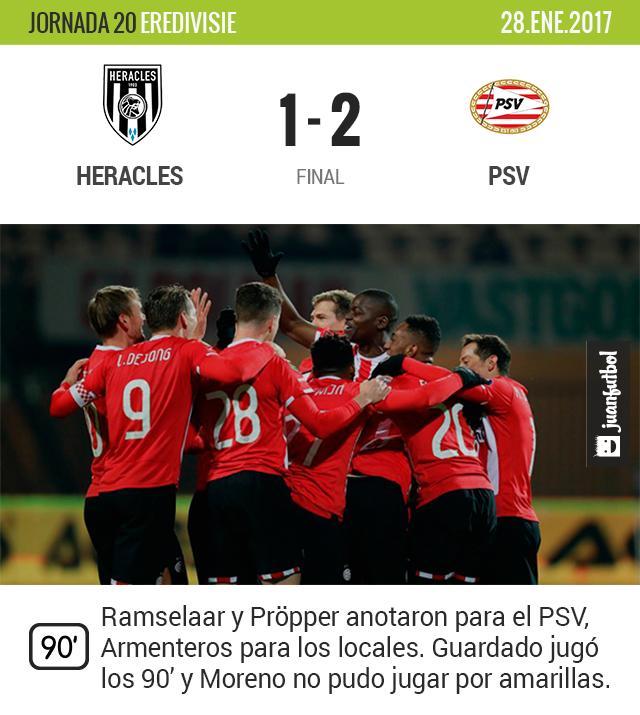 El PSV gana al Heracles sin Moreno pero con Guardado