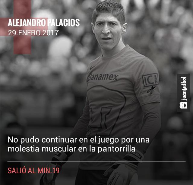 Pikolín Palacios salió del juego por molestia muscular.