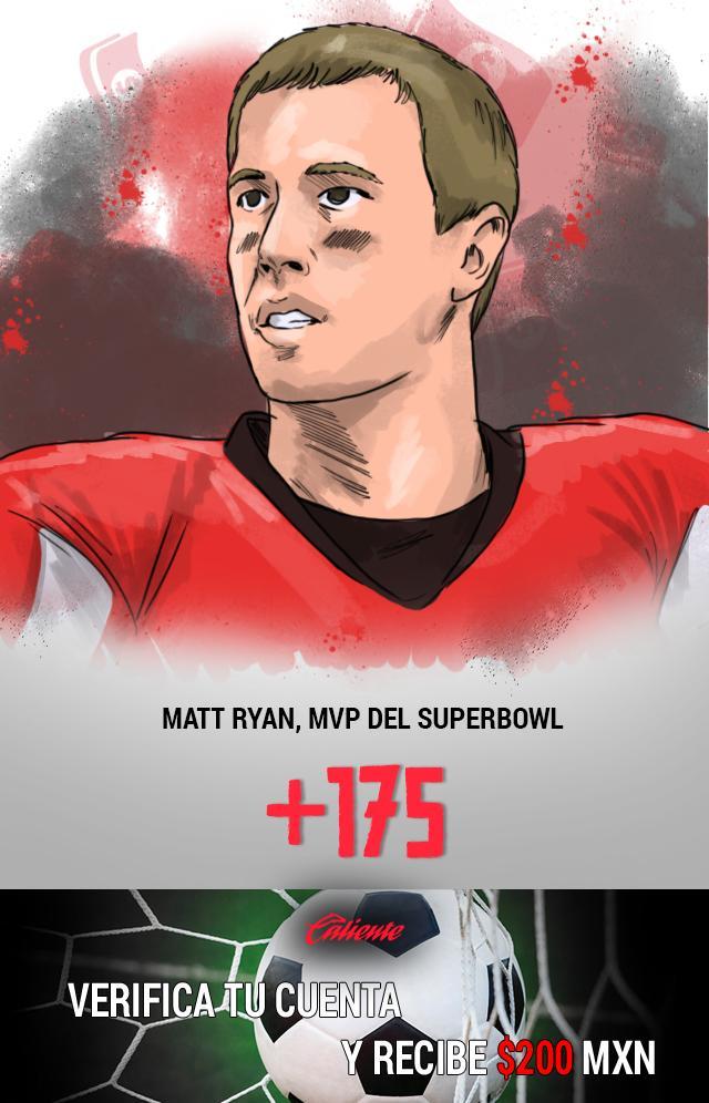 Si crees que Matt Ryan tendrá una buena actuación en el Super Bowl y se llevará el MVP, apuesta en Caliente y llévate mucho dinero.
