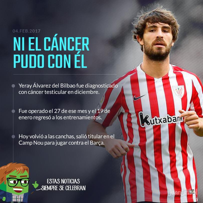 Yeray Álvarez venció al cáncer y volvió para ser titular contra el Barça