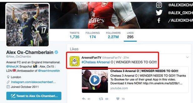 Oxlade-Chamberlain le dio like a tuit que decía que Wenger se fuera