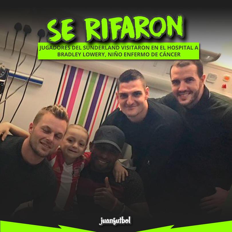 Defoe, Mannone y otros del Sunderland visitaron a un niño con cáncer en el hospital