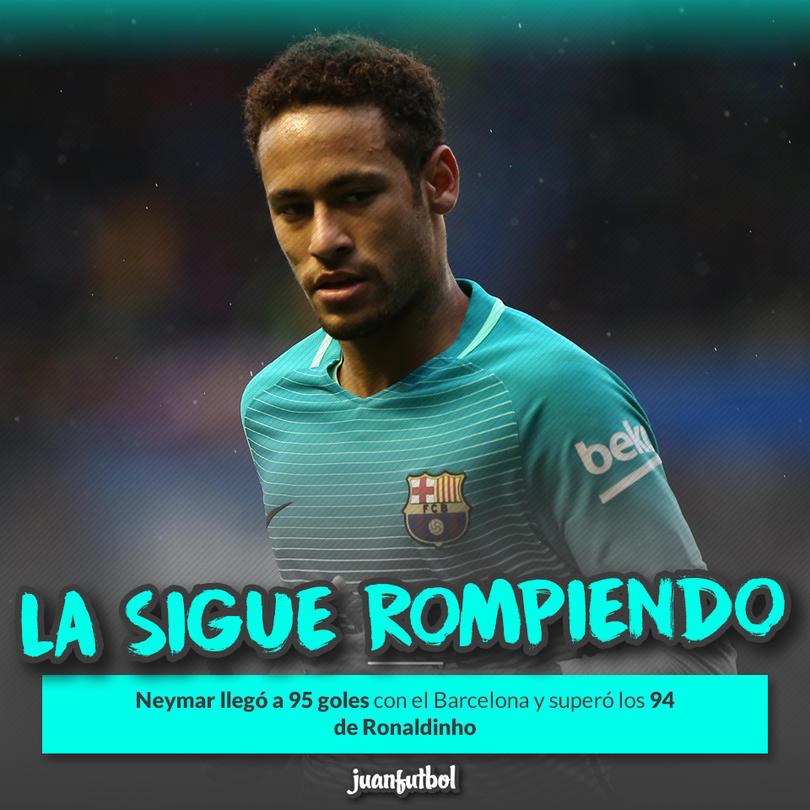 Neymar superó los 94 goles de Ronaldinho con el Barcelona