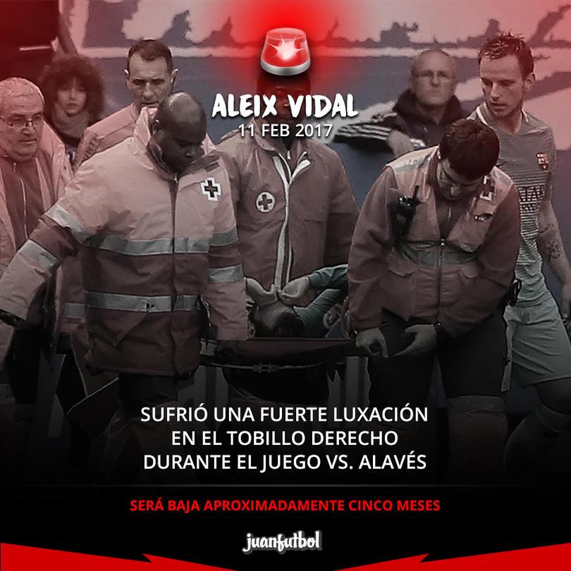 Aleix Vidal estará fuera de las canchas unos cinco meses