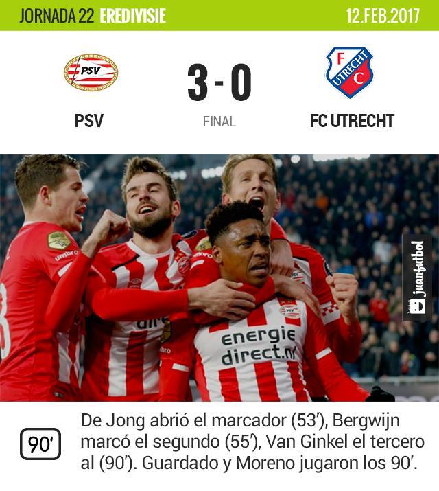 El PSV se lleva la victoria frente al Utrecht.