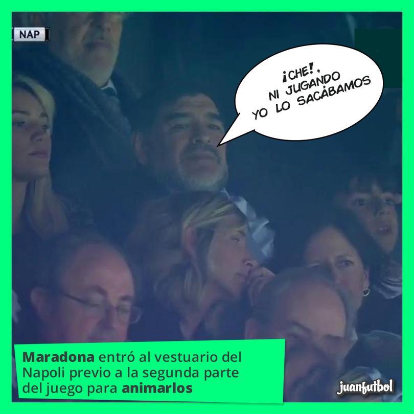 Maradona entró a alentar al Napoli.