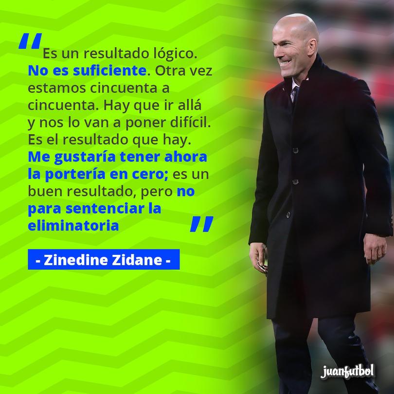 Zinedine Zidane no cree que la ventaja del Madrid sea definitiva