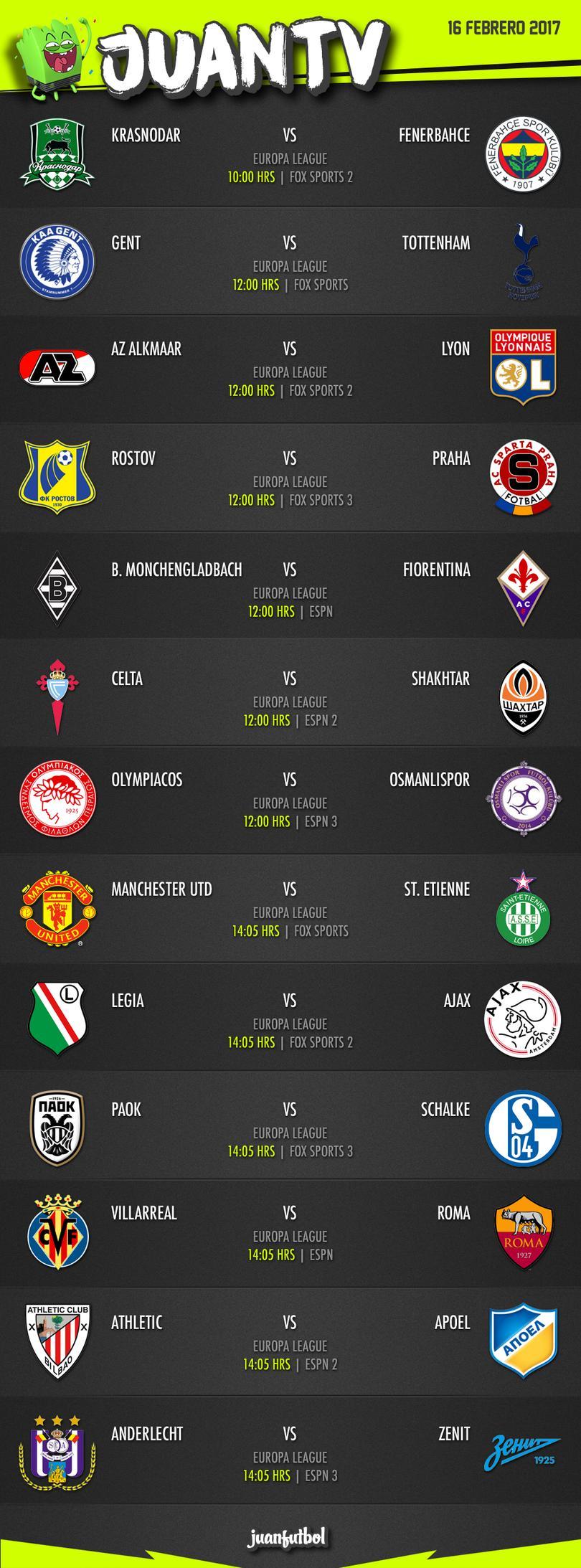Los partidos más importantes del día 16 de febrero del 2017.