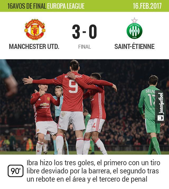 Zlatan golea al Saint-Étienne y pone al United cerca de octavos