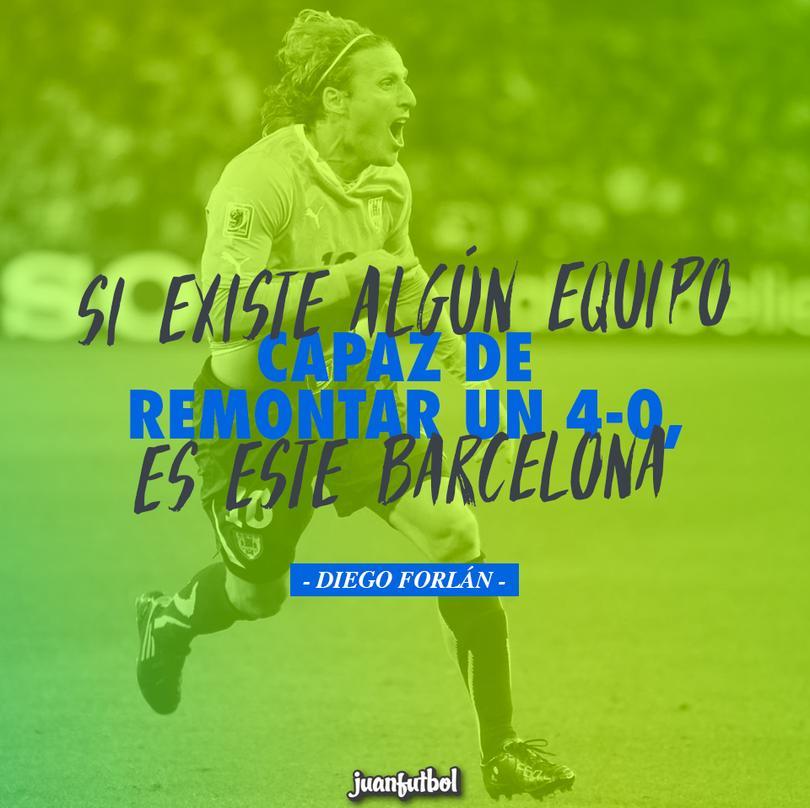Forlán dice que el Barça sí puede remontar