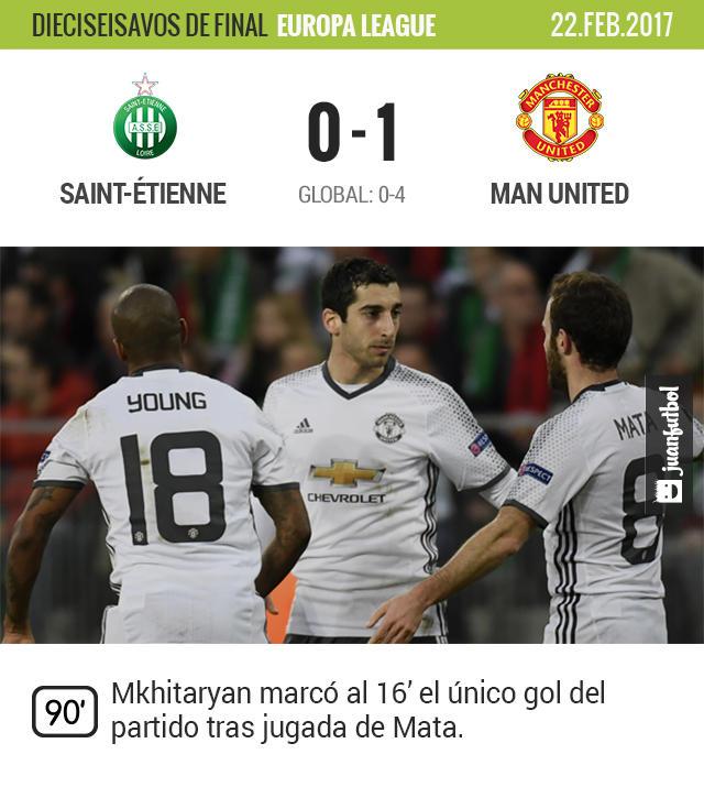 Manchester United terminó el trámite contra el Saint-Étienne con un triunfo por 1-0