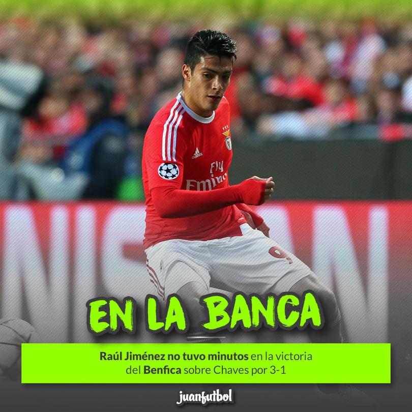 Raúl Jiménez no tuvo minutos con el Benfica ante el Chaves