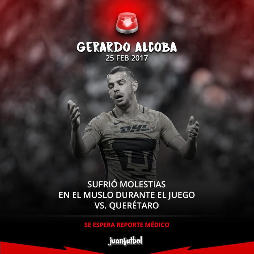 Gerardo Alcoba salió lesionado del juego contra Gallos Blancos