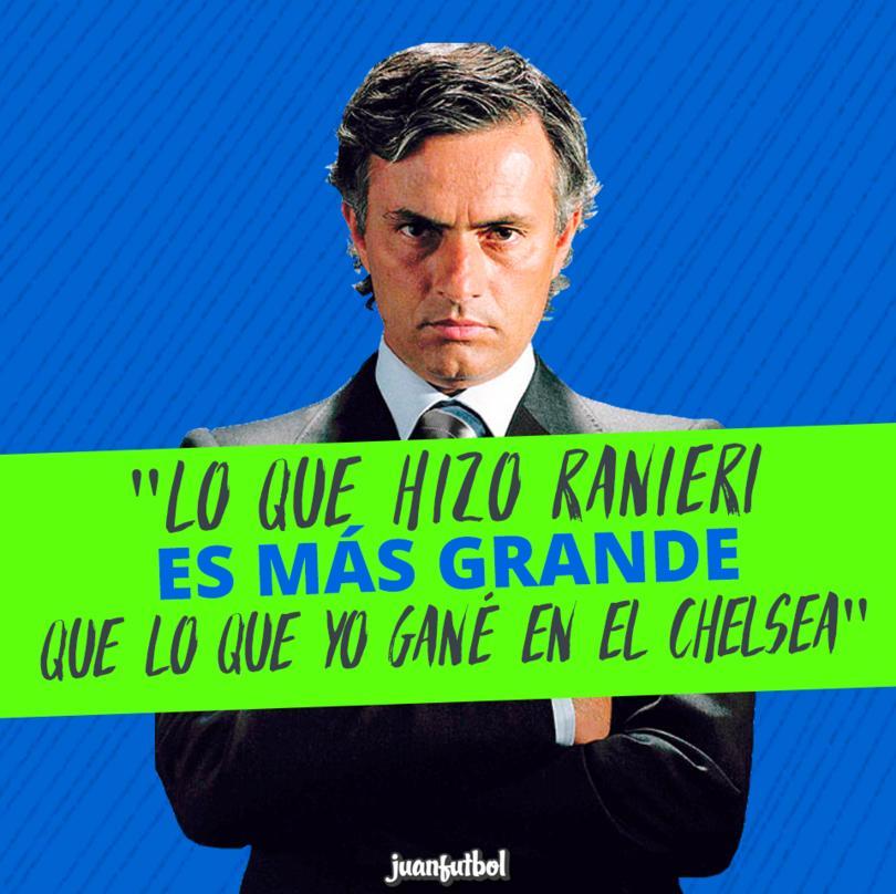Mourinho afirma que lo que ha hecho Ranieri es mucho más importante que lo que ha logrado él con el Chelsea.