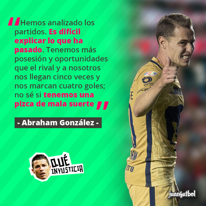 Abraham González cree que Pumas ha tenido mala suerte