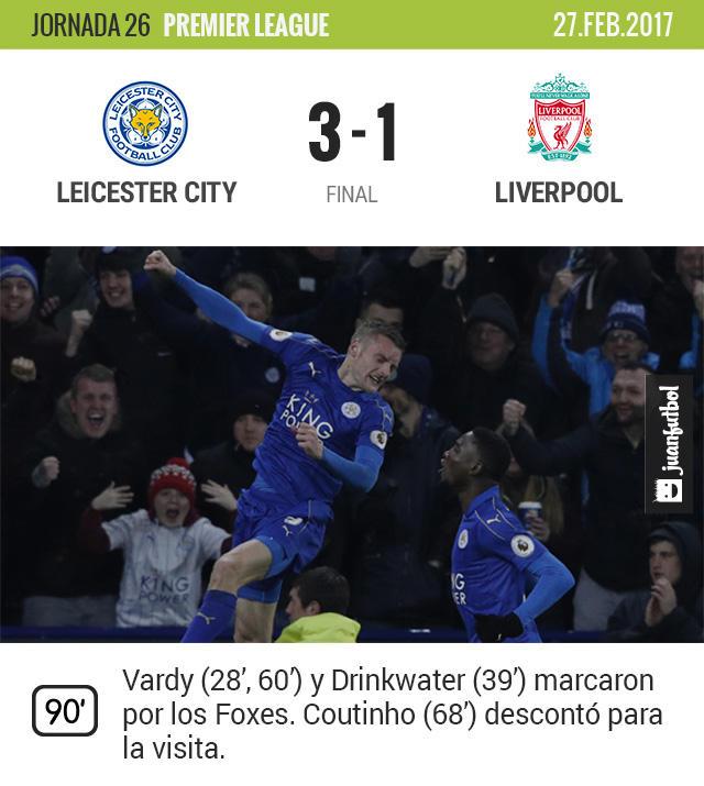 Leicester venció 3-1 al Liverpool y consiguió un triunfo de oro