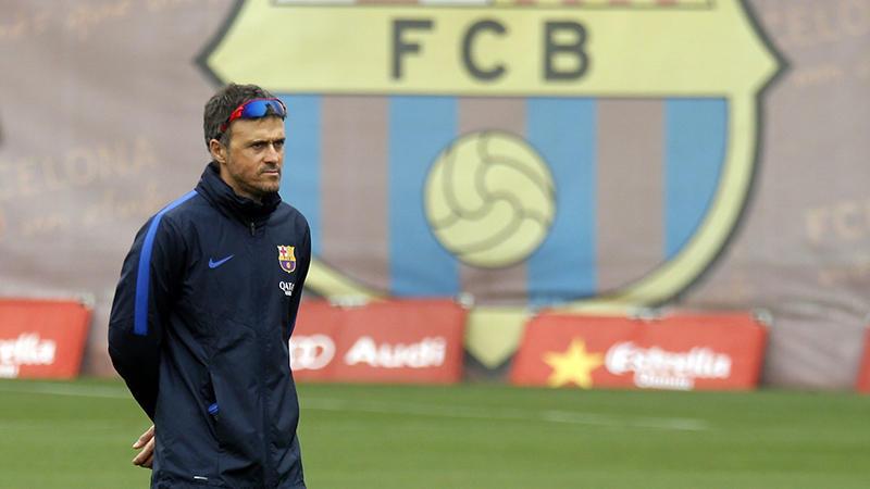 Luis Enrique en el entrenamiento del Barcelona