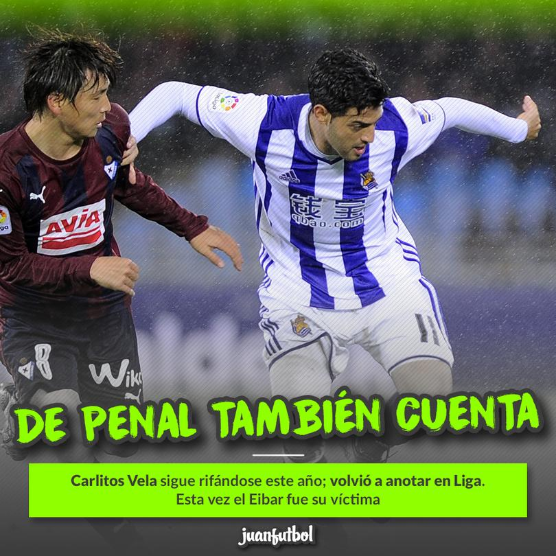 Carlitos Vela marcó de penal ante el Eibar