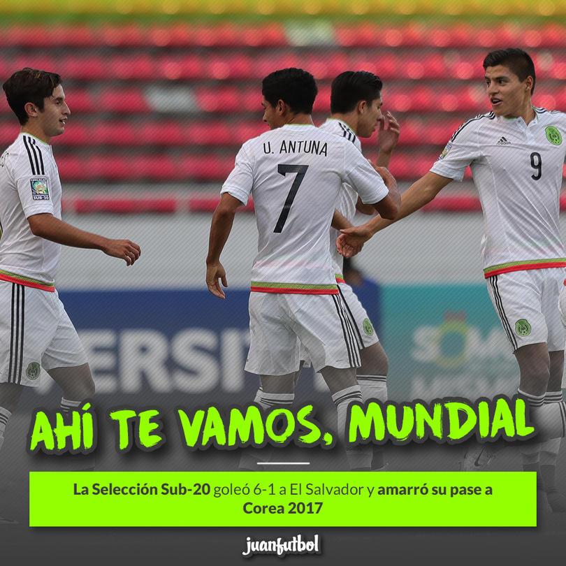 México aplastó a El Salvador y ya está en el Mundial Sub-20 de Corea 2017