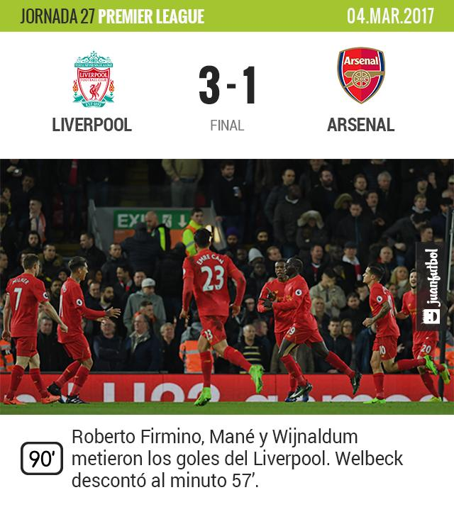 Liverpool le gana al Arsenal en casa