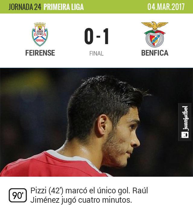 Raúl Jiménez casi no vio minutos en la victoria del Benfica sobre Feirense