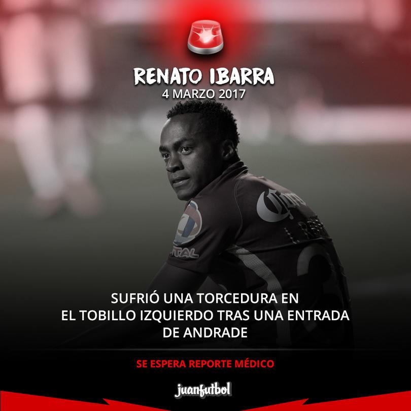 Reanto Ibarra salió con una lesión en el tobillo izquierdo