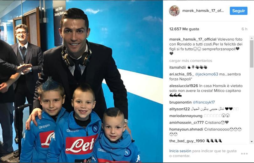 Marek Hamsik presumió la foto de sus hijos con Cristiano Ronaldo
