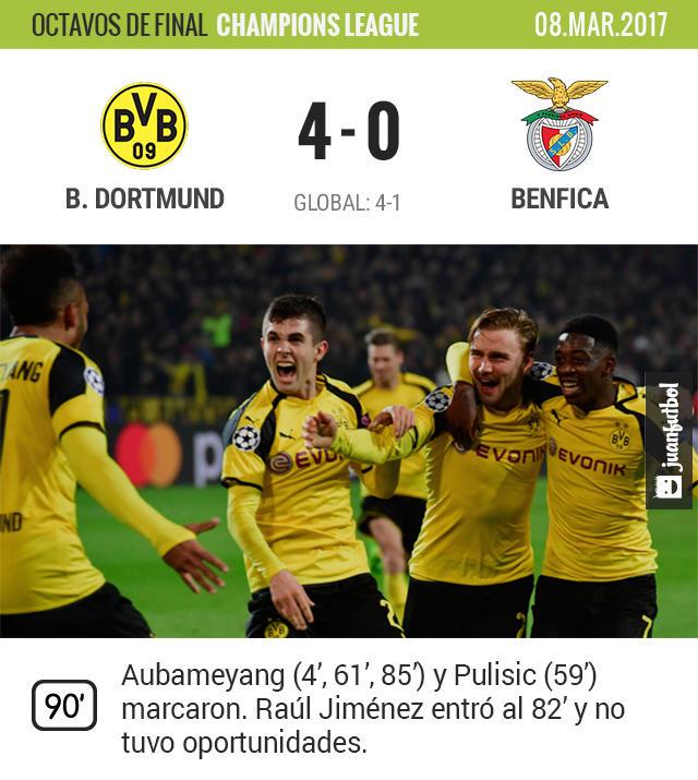 Benfica fue aplastado en Dortmund y quedó fuera de Champions