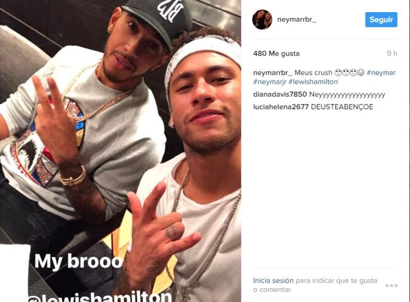 Neymar y Lewis Hamilton