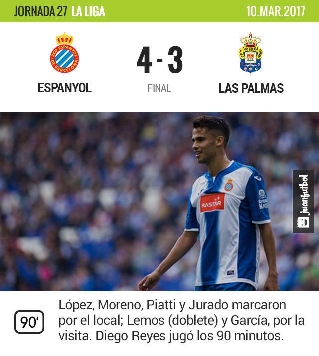 Diego Reyes jugó todo el partido en el triunfo del Espanyol