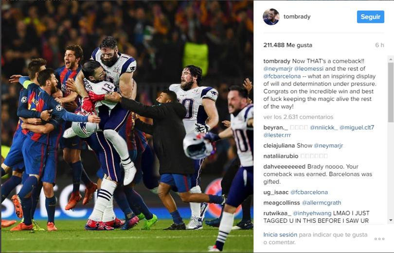 Tom Brady se rifó felicitando al Barcelona