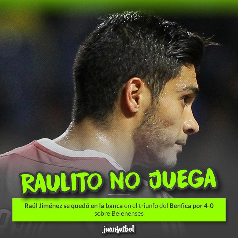 Raúl Jiménez sigue banqueado en el Benfica
