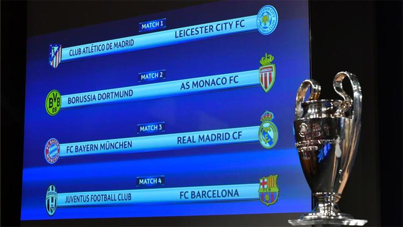Después del sorteo de la Champions League, la UEFA dio a conocer los días y horarios de los partidos de ida y vuelta de los cuartos de final.