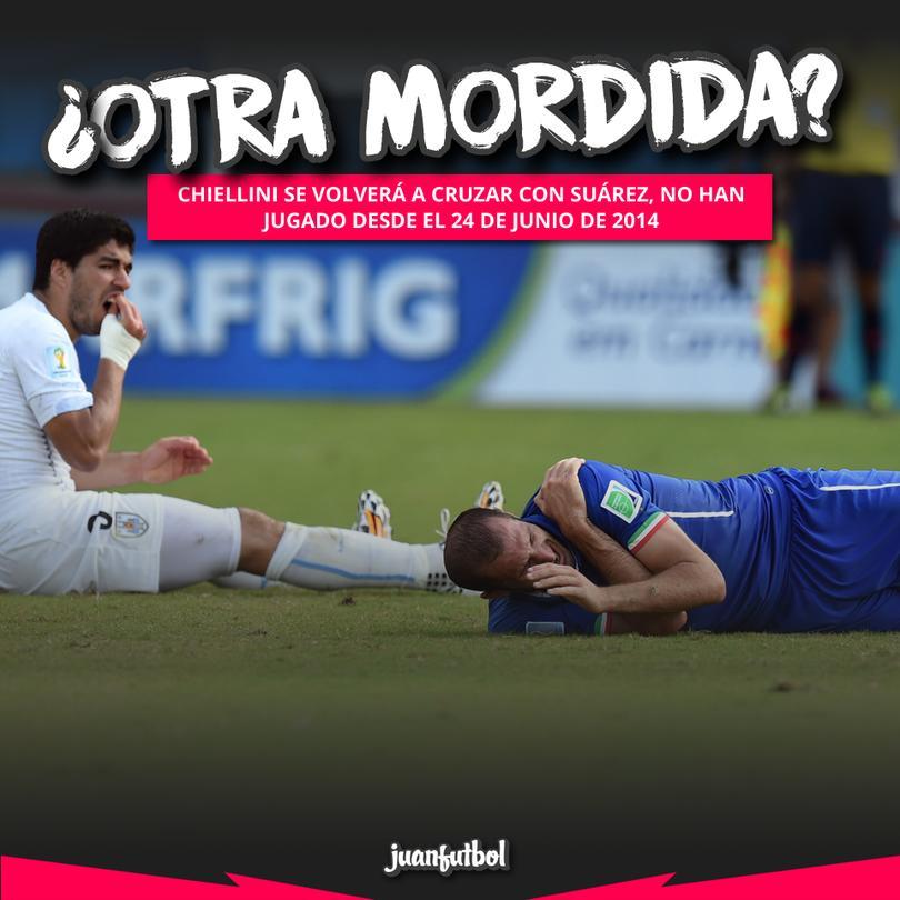 Chiellini se volverá a ver con Suárez después de su mordida en el Mundial