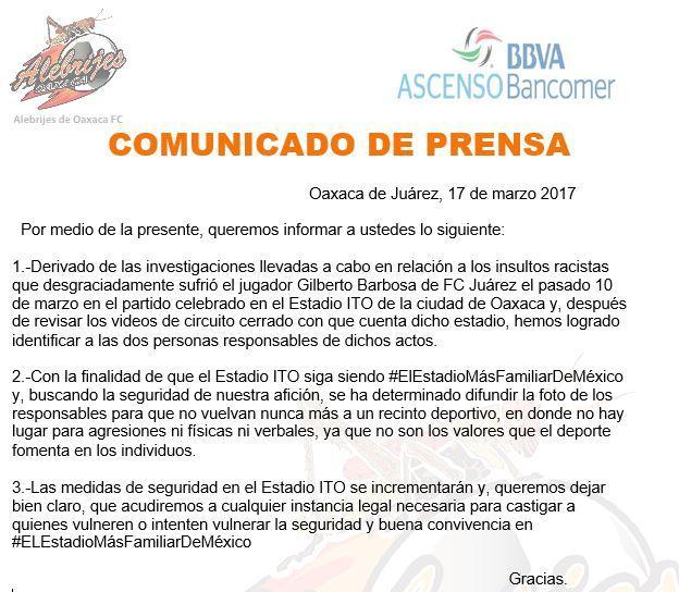 Alebrijes castigará a aficionados que insultaron a Gilberto Barbosa