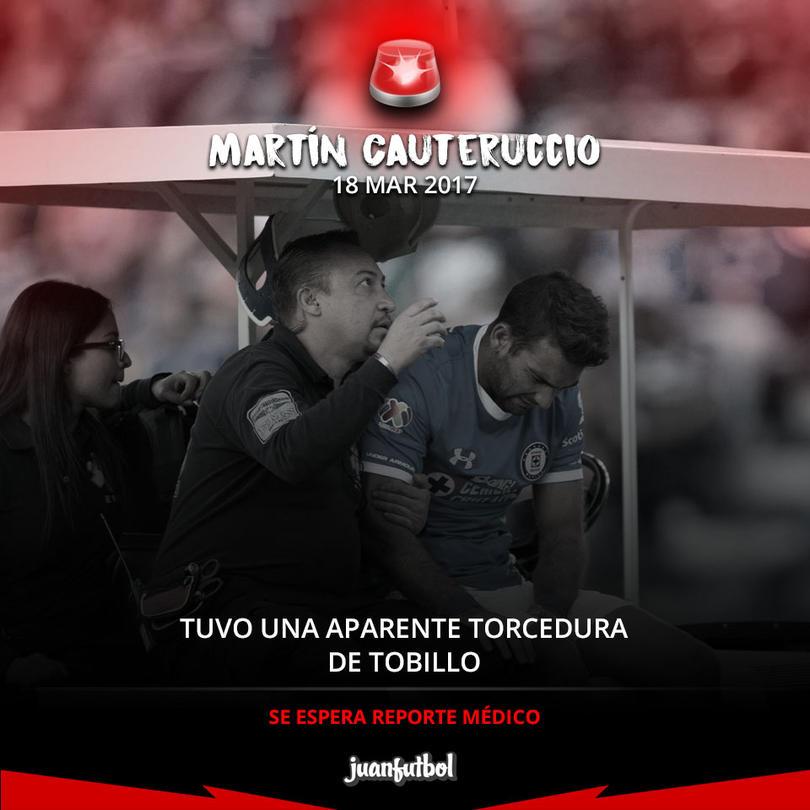 Martín Cauteruccio sufrió una aparente torcedura de tobillo
