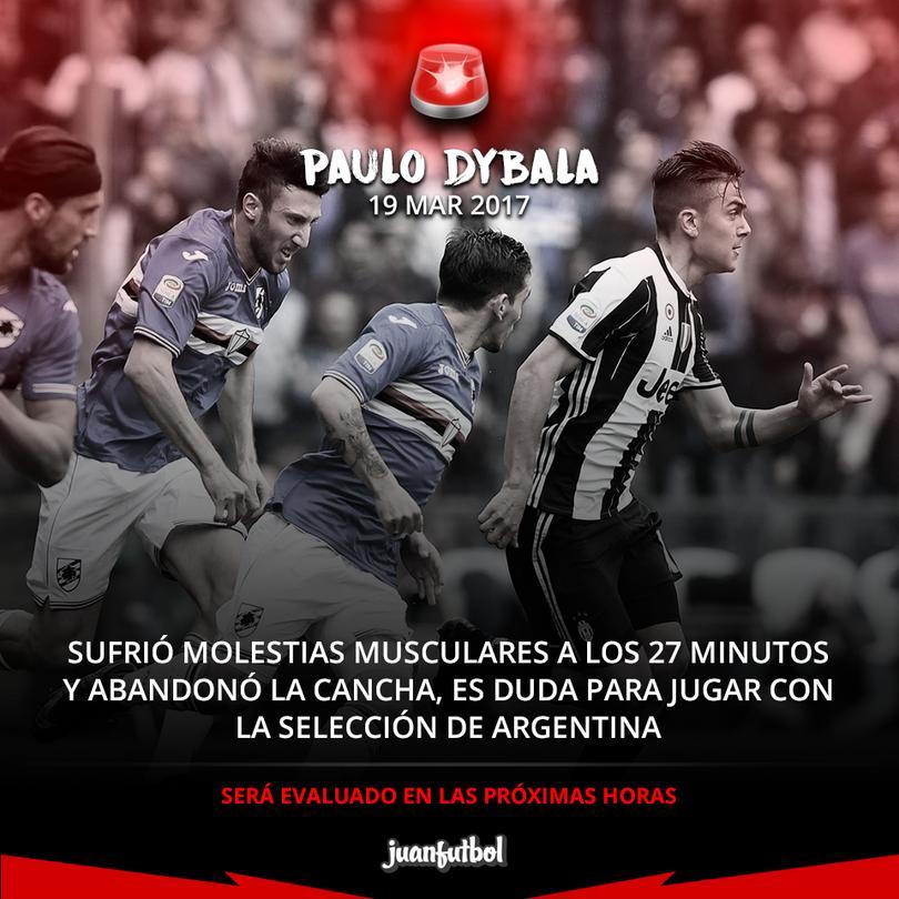 Dybala se lesiona y podría perderse la fecha FIFA