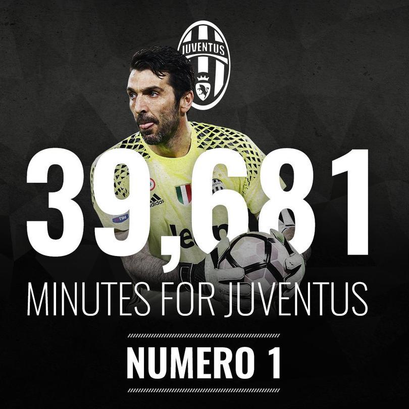 Buffon es el jugador con más minutos jugados en la Juve en Serie A