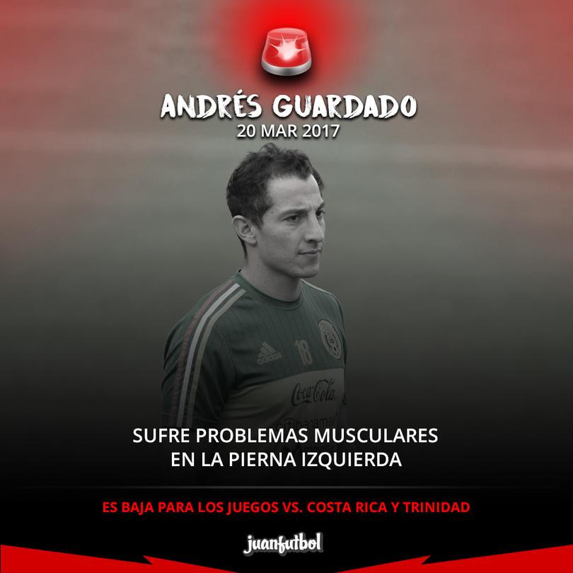 Andrés Guardado es baja de la Selección Mexicana
