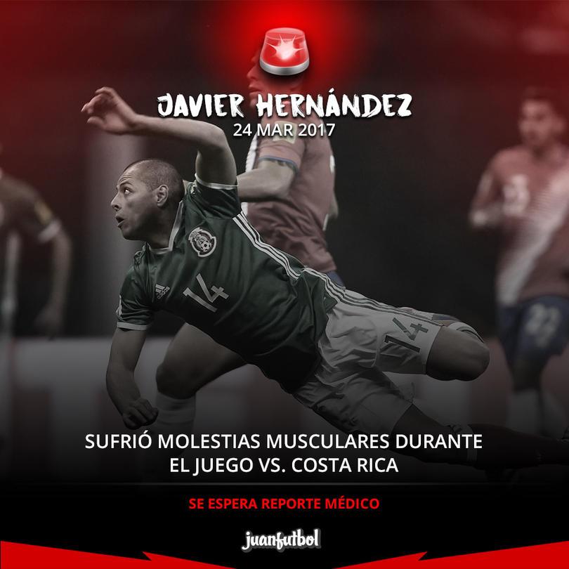 Javier Hernández sufrió molestias musculares y salió de cambio