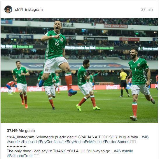 Chicharito dio gracias a todos por el récord, ahora en Instagram